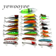 yewooyee 25pcs Fishing Lure Kit Minnow Locusts Hard Bait Led Lamp Wobblers Isca Artificial Bait Lure Set Fishing Tackle Pesca