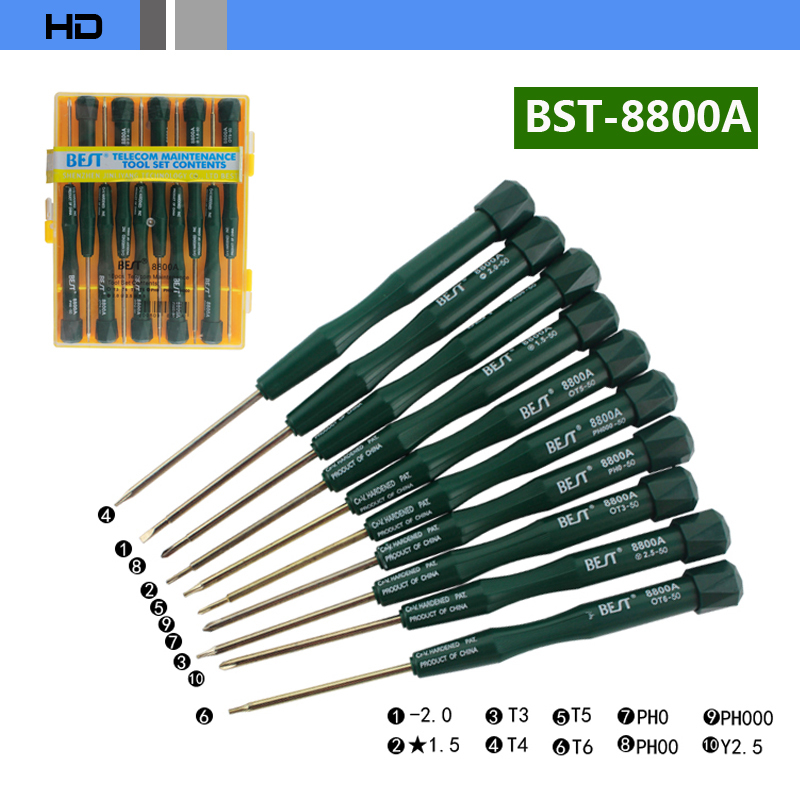 BEST BST-8800A 10 in 1 Disassemble tools set screwdrivers special for Cellphone repair free shipping<br><br>Aliexpress