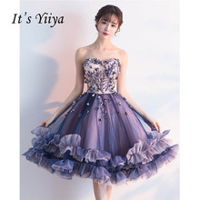 It's YiiYa Sex Purple Floral Strapless Print Draped Flowers Knee Length Cocktail Dress Tea Length Formal Dress Party Gowns LX031(China)