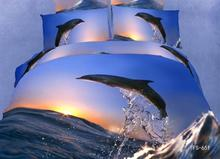 3D Blue dolphin sunset  bedding set king queen size duvet cover designer bedspread bed in a bag sheet quilt cotton oil painting