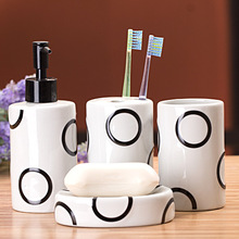 Simple circular design four-piece ceramic bathroom set toiletries toothbrush holder bathroom accessories bathroom amenities