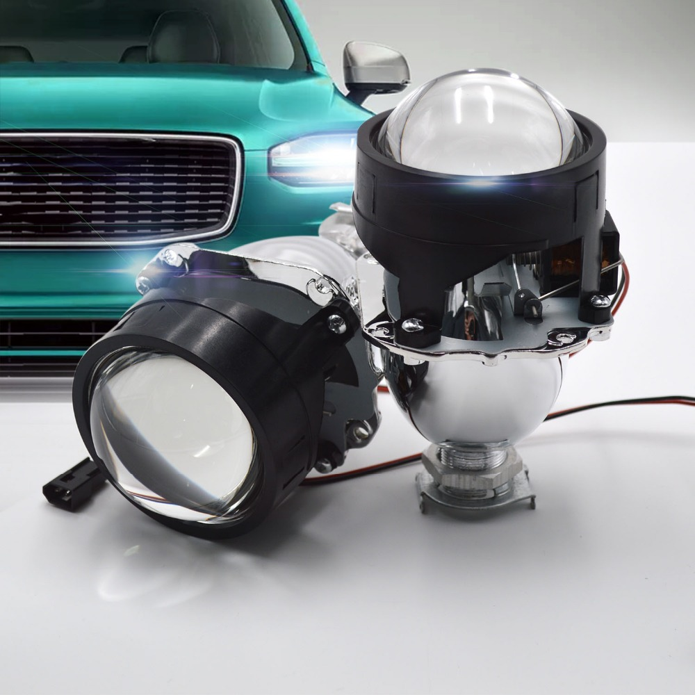 Taitian 2Pcs LHD 2.5 Mini Bi-Xenon kit H1 H4 lens H7 HID Projector bi led lens fog lights For car Headlights Retrofit Shroud<br>