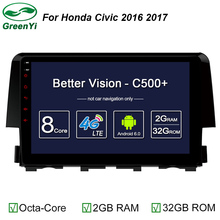 "9"" Octa Core 1024*600 Android 6.0 Car DVD GPS Navigation Player Car Stereo For Honda Civic 2016 Deckless Bluetooth Radio Wifi(China)"