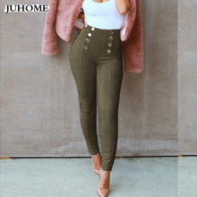 Buy 2017 autumn winter Button suede leather women pants capris Skinny stretch casual high waist Legging pencil bodycon slim trousers for $13.66 in AliExpress store