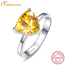BONLAVIE Fine Jewelry S925 Stamp Real 925 Sterling Silver Ring Set Luxury 5.95 Carat Yellow Heart Stone Wedding Ring for Women