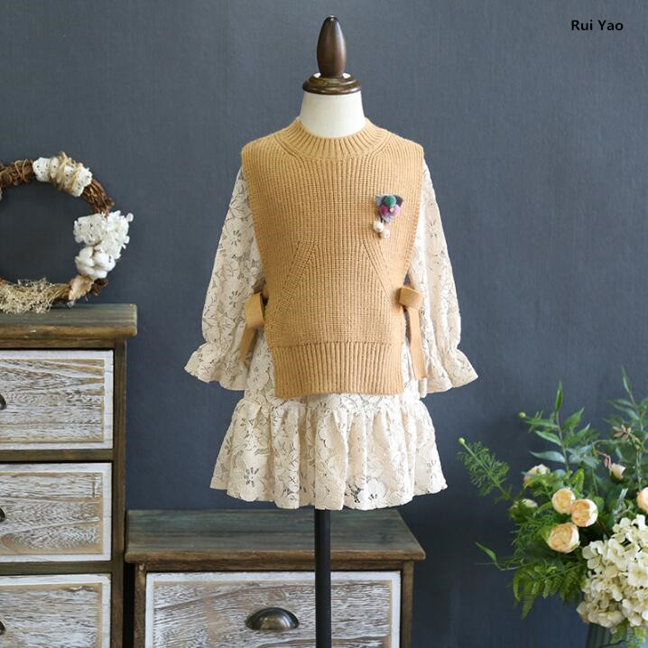 285274 2018 Baby Girls Dress Sweater Vest Fashion Girl Dress Lace Girls Princess Dress Baby Dress Girls Clothes Baby Clothing<br>