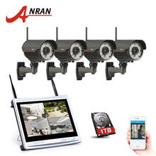 "ANRAN 4CH 12"" LCD NVR Wireless Security Camera System 720P HD Varifocal 2.8mm-12mm Outdoor Wifi Surveillance Camera Kit(China)"