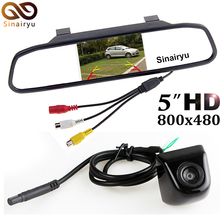 HD 800x480 TFT Screen 5 inch Rearview Mirror Parking Monitor With Front Rear View Camera Change Parking Line and Mirror Image