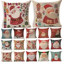 1Pcs 43*43cm Christmas Santa Claus Pattern Cotton Linen Throw Pillow Cushion Cover Car Home Sofa Decorative Pillowcase 40471(China)