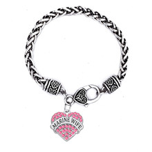 US Marine Jewelry Alloy Metal Silver Tone Heart Crystal Marine Wife Fashion Family Bracelet