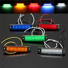 MOONBIFFY 1PCS DC 24V 6 SMD LED Car Bus Truck Trailer Lorry Side Marker Indicator Light Side Lamp White/Red/Amber/Blue/Green