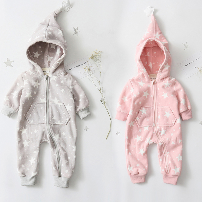 spring falll infant baby romper baby girl star print romper baby boys hooded thick jumpsuit free shipping<br><br>Aliexpress