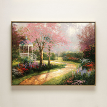 cotton handmade oil painting Thomas pink tree leaves rural road landscape no frame hand painted home wall art decoration picture