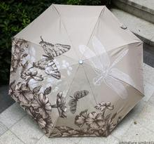 High quality Butterfly Dragonfly chinese oil painting sun rain art Umbrella 3 Fold Anti UV fashion impressionism free shipping