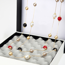 2016 New Fashion Accessories Vintage Colorful Simulated Pearl Jewelry Necklace Long Luxury Necklace Sweater Chain For Women