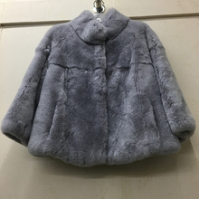 2017 hot sale natural rex rabbit fur women real coat high quality 100% genuine rex rabbit fur chinchilla color winter jacket