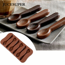 JUCESU 1PCS 6 Holes Spoon Shape Chocolate Mold Silicone DIY Cake Decoration Mold Jelly Ice Baking Mould Spoon Design Cake Moulds