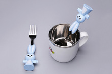 2pcs/set Lovely Rabbit Baby Dinner Ware Kids Feeding Spoon + Fork High Quality Stainless steel Baby Spoon Dishware