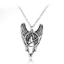 Antique Silver Supernature Necklace Popular Design Angel Wings and Pentagram Jewelry Star Necklace(China)