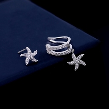 MIGGA 1pc High Quality Cubic Zircon Crystal Starfish Ear Cuff Clip Earrings for Women Star Earrings Silver Color