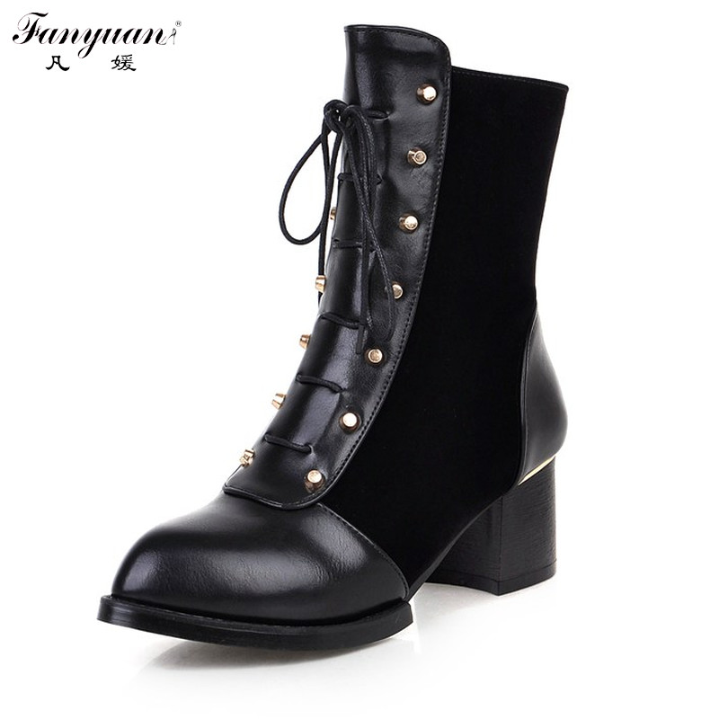 New Arrival 2017 Autumn British Style Women Fashion Ankle Boots Zip Rivets Solid Round Toe High Square Heel Lady Ankle Boots<br><br>Aliexpress