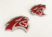 BBQ@FUKA 2X Alloy Red Chrome HELLCAT Emblem Badge Sticker Decal Metal Fit for 99-16 Dodge Ram Challenger
