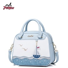 JUST STAR Women's PU Leather Handbag Ladies Sail Embroidery Tote Shoulder Purse Female Leisure Sea Boston Messenger Bags JZ4298
