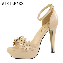 korean ladies top quality leather sandals women Elegant flowers high heels shoes woman platform sandals red pink yellow nude(China)