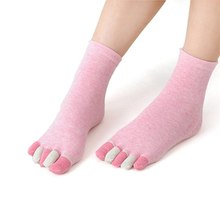 Feitong  Japanese Candy Cotton TOP Non Slip Massage Toe Socks Full Grip Heel Five Fingers Toes Ankle Short Calcetines Mujer