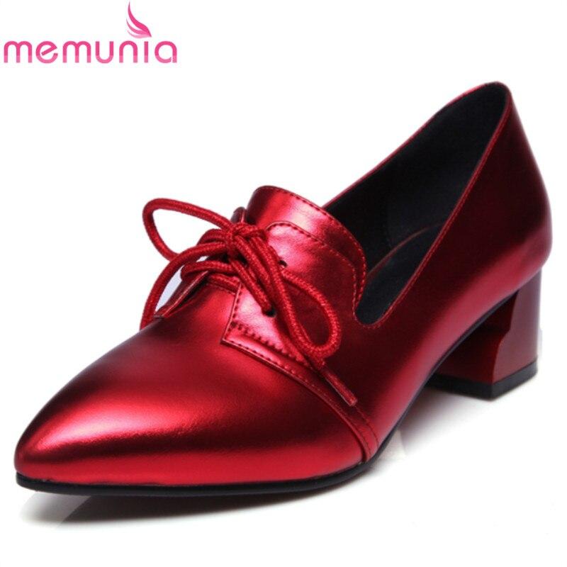 MEMUNIA 2017 hot sale new arrive women pumps fashion spring autumn med heels single shoes  pointed toe ladies shoes<br>