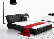 diamond tufted buttons contemporary genuine leather bed modern bedroom furniture made in China