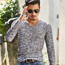 Hot 2017 New Arrival Spring Autumn Fashion Brand V-Neck Slim Fit Long Sleeve TShirt Men Trend Casual Men T-Shirt Korean T Shirts