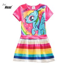 NEAT Summer girl dress fashion dresses for girls 100% Cotton cartoon print dress vestido infantil children clothing SH6218(China)