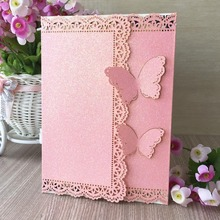50pcs glitter pink paper gold wedding party invitaiton card wedding place cards latest invitation card laser cut 3D butterfly