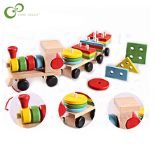 The Shape Of Three Section Blocks Small Tractor Train Environmental Protection Wooden Toy thomas Train toys for children WYQ(China)