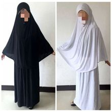 Four colors black white navy blue coffee clothing HIJAB skirt long plain softy prayer suits (150-170CM tall people ))