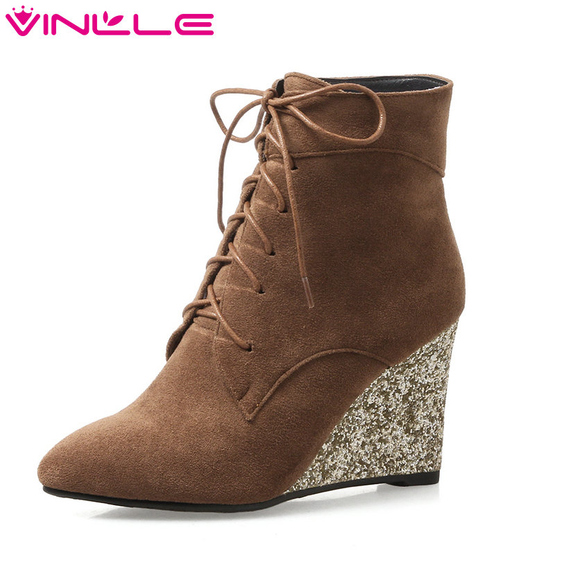 VINLLE 2018 Women Boots Shoes Ankle Boots Wedge High Heel Pointed Toe Lace Up Elegant Ladies Motorcycle Shoes Size 34-42<br>