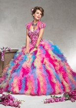 2016 New Rainbow Colored Quinceanera Dresses Ball Gowns Ruffles Beaded Debutante Gowns with Jacket Floor Length Sweetheart VB132