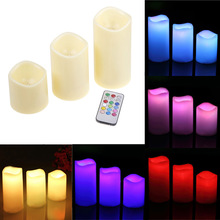 Home Decor 3Pcs/set Cylindrical Colorful Remote Control Timed Flameless LED Candle Light Unique #81304
