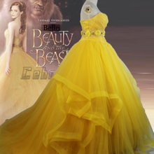 2017 New movie Beauty and the Beast Belle Princess Emma Watson adults cosplay costume yellow dress with train Custom made
