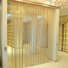 1X2M Glitter Curtains Shiny Tassel Champagne Line Encryption String for Window Living Room Door Screen Drape Decor(China)