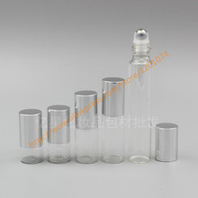 1ml/2ml/3ml/5ml/10ml clear Glass Bottle(long neck) With stainless roller+silver aluminum lid,roll-on/perfume/deodorant bottle
