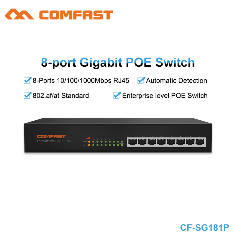 High Speed Comfast 8 Port Gigabity 10/100/1000Mbps RJ45 Poe Switch 802.af/at Enterprice realy 48V Poe switch SG181P