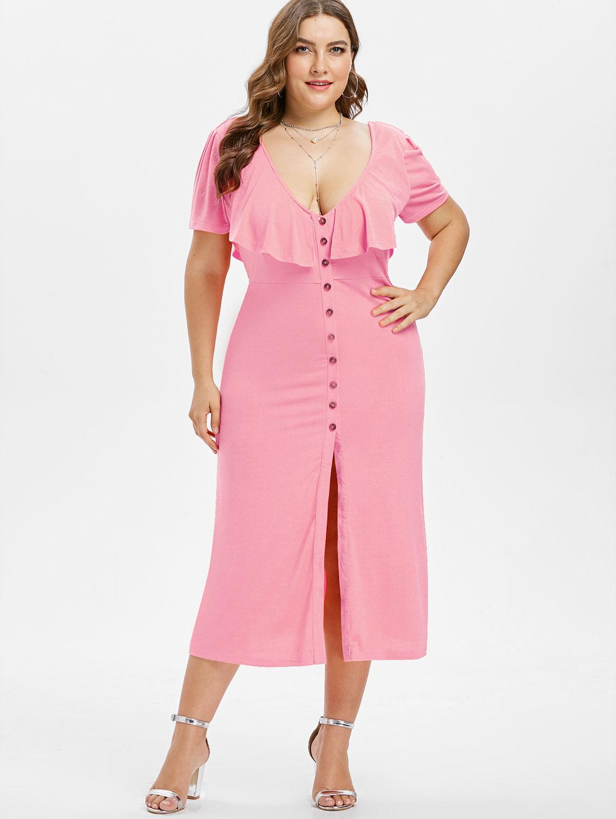 013bc52b7f Wipalo Elegant Casual Front Slit Short Sleeve Women Dresses Plus Size V  Neck Ruffle Criss Cross Button Dress High Waist Dress Dressing Style For  Women ...