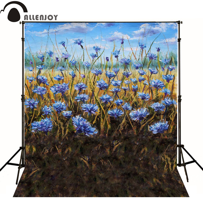 Allenjoy photography backdrops Spring field blue flower painting backgrounds for photo studio Custom size<br><br>Aliexpress
