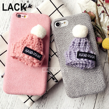 LACK New Fashion Funda For IPhone6 Case Warm Rabbit Fur Ball Case Plush Hat Phone Case for Iphone 6 6SPlus DIY Luxury Back Cover(China)