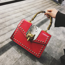 Botom Fashion classic style embroidery rivet letters bamboo ladies handbag casual totes shoulder bag crossbody messenger bag pur