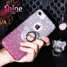 Original Luxury Glitter Bling Cell Phone Case with Finger Ring Stand For iPhone 7 7Plus 6 6S Plus Back Cover With Stand Holder