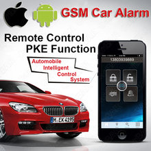 IOS Android GPS GSM Car Alarm Push Button Start  with PKE Keyless Entry System One Start Stop Button SMS Alarm CARBAR