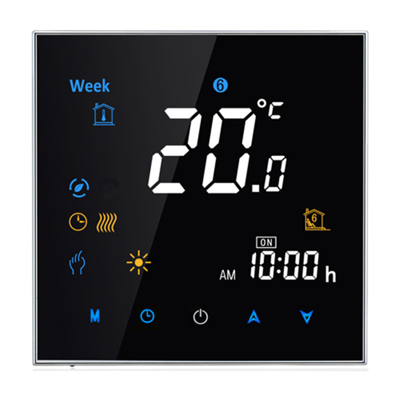 95~240VAC Four Pipe Digital Weekly Programmable Fan Coil Controller Central Air Conditioning Room Thermostat without Wifi<br>
